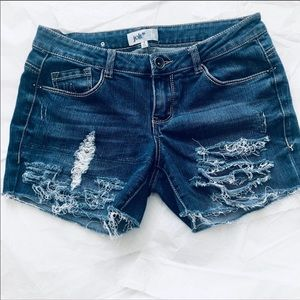 Juniors Jolt Distressed Cutoff Jean Shorts